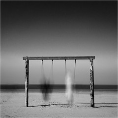 [ schaukelfreuden ] (panfot_O) Tags: longexposure sea blackandwhite bw motion beach monochrome strand germany fun joy swing motionblur delight northsea swinging schwarzweiss schleswigholstein stpeterording schaukel neutraldensityfilter artlibrewinner artlibres schaukelfreuden