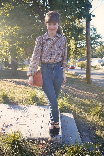 out thrifting. flannel plaid and high waisted denim