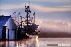 Early Morning In Steveston (Clayton Perry Photoworks) Tags: fog sunrise river boat fishing richmond fraser hdr steveston
