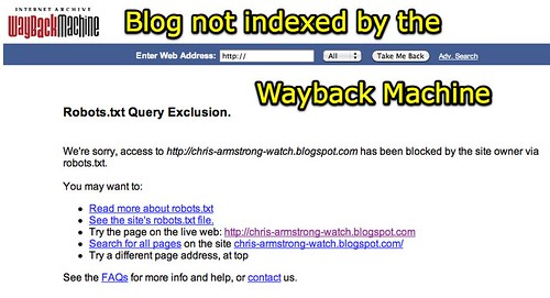 Internet Archive Wayback Machine: Robots.txt Query Exclusion