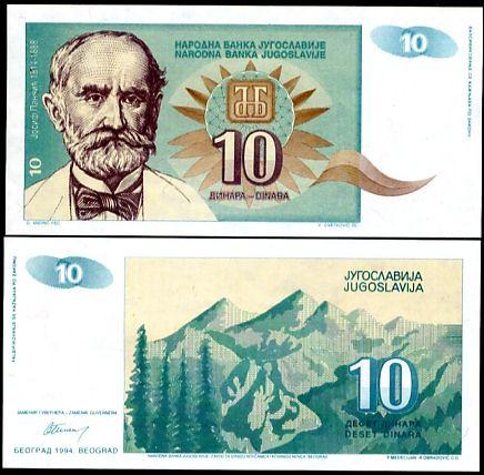 10 Dinárov Juhoslávia 1994