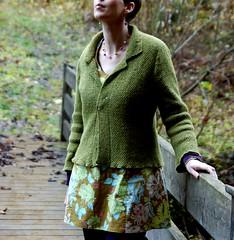 Heather cardigan with Svea tunic (KeTreKo) Tags: green knitting sewing knit sew cardigan cardi alpbach amybutler strickjacke tunic stricken nhen kimhargreaves farbenmix tunika throwntogether