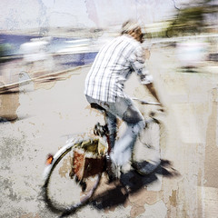 Man on an old bycicle - L'homme sur un vieux vélo (Chris, photographe de Nice (French Riviera)) Tags: photographiederue photographiecontemporaine streetphotography contemporaryart contemporaryphotography artgalleryandmuseums artcontemporain texture square hank you luyunes thank
