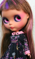 rashida (cybermelli) Tags: sky house doll dress heather painted magic kingdom highlights blythe hop custom lids eyelids pinku primadolly happibug