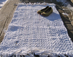 White Handwoven Recycled T-Shirt Rag Rug (fiveforty) Tags: recycled cotton poly handwoven ragrug whitetshirts palecolour fiveforty