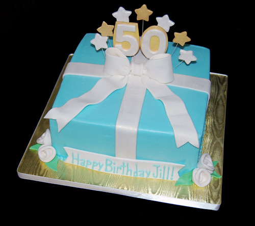 50th Birthday Package Cake Gold White and Blue