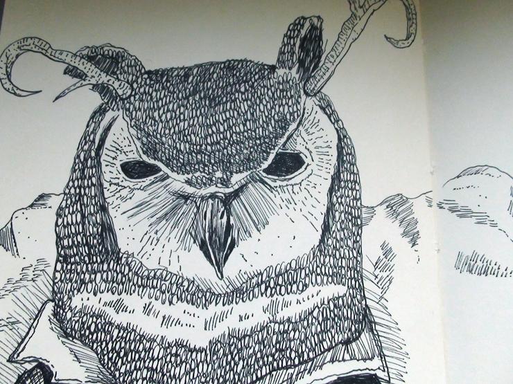 owl in trenchcoat