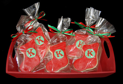K monogram Christmas Stocking Sugar cookie