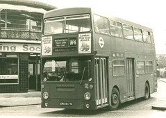 London Transport . DMS917 TGX917M . Turnpike Lane Bus Station . 17th-August-1979 (AndrewHA's) Tags: bus middlesex daimler fleetline parkroyal londonbus londontransport woodgreen turnpikelane crg6 routew4 dms917 smu917n