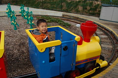 Owen driving the Legoland Express