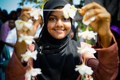 Welcome 2010 (maapu) Tags: flowers girl island hijab islander local welcome arrival maldives greeting dhivehi maapu mauroof dhivehin raaje flowerofislam tropicalwelcome