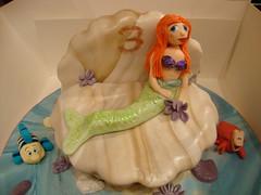 Little Mermaid Cake (Rhona's Merry Little Cakes) Tags: birthday fish cake seaside sebastian little shell crab icing mermaid flounder fondant gumpaste sugarpaste