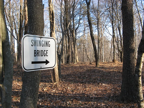Yes there is a swinging bridge