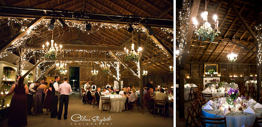 vintage barn candle lit wedding reception detail shot