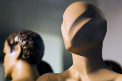 Plastic mannequin head with futuristic v shape