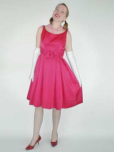 Rose pink satin party dress