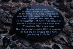 Photo of Robert Kett and William Kett black plaque