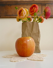 Still Life with Fuji Apple and Ranunculus (Angie Naron) Tags: stilllife apple ranunculus fujiapple angienaron stilllifewithfujiapple stilllifewithranunculusandfujiapple photobyangienaron