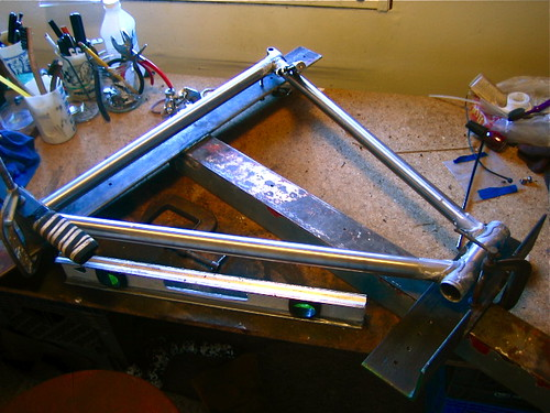bicycle jig homemade frame inexpensive framebuilding