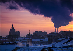 Winter cityscape with steam emissions and industrial pollution (Dmitry Mordolff) Tags: life street travel winter light sunset sky urban sunlight house snow building tower skyline architecture night skyscraper outdoors office site twilight construction downtown cityscape exterior view traffic russia crane dusk moscow district horizon cities scene panoramic aerial illuminated steam business tall residential cloudscape kremlin fume