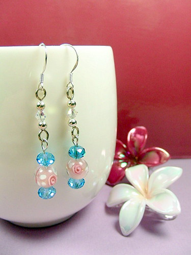 BOY OR GIRL earrings Swarovski crystals sterling silver baby blue pink