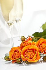 Roses and glasses of champagne (Denis Vrublevski) Tags: eve pink wedding party white holiday flower love nature glass floral beautiful rose festive happy golden wine drink anniversary toast champagne beverage decoration valentine victory romance petal celebration gift alcohol surprise present romantic date celebrate luxury fizz congrats