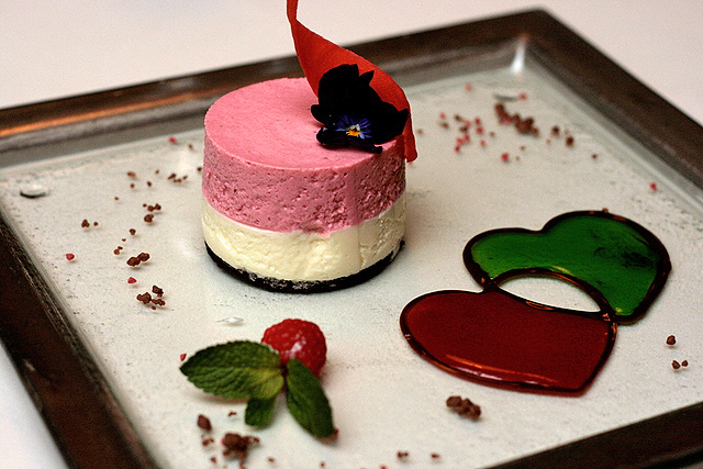 Strawberry & Yogurt Mousse with Peppermint Chocolate Sauce