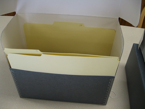 Acid-free box and folders, by Madison Library, Madison, NH, Creative Commons: Attribution 2.0.