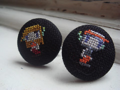 Quote and Curly cufflinks (benjibot) Tags: clothing crossstitch crafts videogames cufflinks cavestory