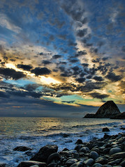 Mugu Rock 04 (myke321) Tags: ocean california sunset wallpaper beach clouds rocks pch hdr hwy1 sunsetssunrisesandskys