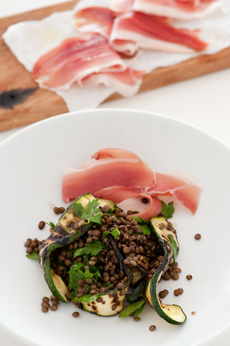 lentil salad with bbq zucchini  & proscuitto