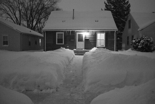 front of house snow b&w
