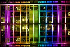 Coloured Columns (Gunni Prests) Tags: lighting longexposure lake reflection art beautiful night canon lights photo rainbow raw colours cityhall lightshow reykjavík