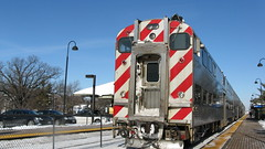 Northbound Metra local at the Deerfield Illinois station. Thursday, February 11th 2010.
