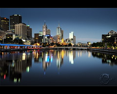 Tall Reflection (Chantal Steyn) Tags: city longexposure blue light reflection building skyline night skyscraper river nikon cityscape tripod australia melbourne yarra nikkor d300 nohdr 1685mm