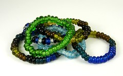 """Recycled Glass Bead Elasticated Bracelets • <a style=""""font-size:0.8em;"""" href=""""https://www.flickr.com/photos/37516896@N05/4362778568/"""" target=""""_blank"""">View on Flickr</a>"""