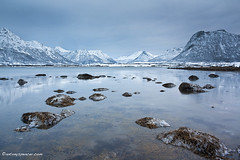 Sortland fjord (antonyspencer) Tags: winter mountain snow seascape mountains cold ice norway zeiss reflections circle landscape frozen arctic fjord spencer northern antony 25mm sortland nordland 5dmkii
