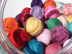handwound brightly colored balls of twine in candy jar (fort and field) Tags: rainbow bright yarn string multicolored twine candyjar handwound