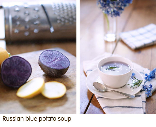 Russian blue potato soup