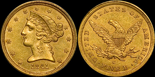 1841-C $5.00 PCGS MS62