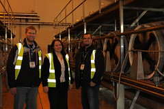 Kevin and Ben standing with Head Brewer Emma who took a few hours out of her day to show all of us around.  Thanks Emma! (Hangar 24 Craft Brewery) Tags: ca bridge ireland england ford beer europe kevin ben jessica hangar cook award craft trent brewery kristi 24 wright guiness distillery js section redlands upon burton 2010 midlands jameson ibd marstons zerek