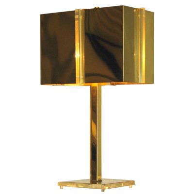 lamp in brass and lucite by charles hollis jones