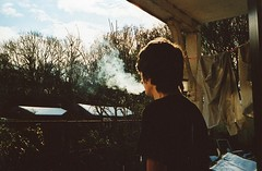 smoke cloudboy (Adele M. Reed) Tags: sun 35mm jon smoke coventry earlyspring kodak200 nikonl35af2