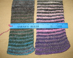 two scarves, side by side, with a ruler showing one is five inches wide and the other six inches