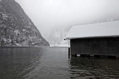 Konigsee - boathouse near St Bartholomew (Nathan A) Tags: travel winter lake snow germany bayern deutschland bavaria berchtesgaden europe euro wintersnow konigsee stbartholomewlake