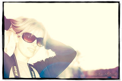 Nearly Blinding (Proleshi) Tags: woman sunlight reflection girl smile sunshine sunglasses hair happy 50mm glasses golden nikon 14 naturallight shades blonde blinding sunlit 50 afs d60 directsunlight singleraw proleshi