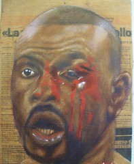 bloody jones (morgan soli) Tags: mostra roy jones newspaper blood gallery fighter arte exhibition morgan galleria boxe reggio quadri pittura giornale metamorfosi pugile