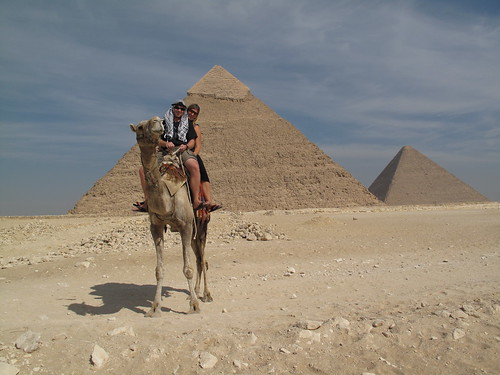 Camel safari around the Great Pyramids of Giza, Egypt