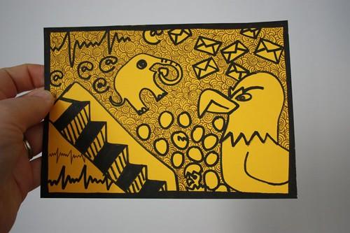 Doodle Postcard - Letter E, sent