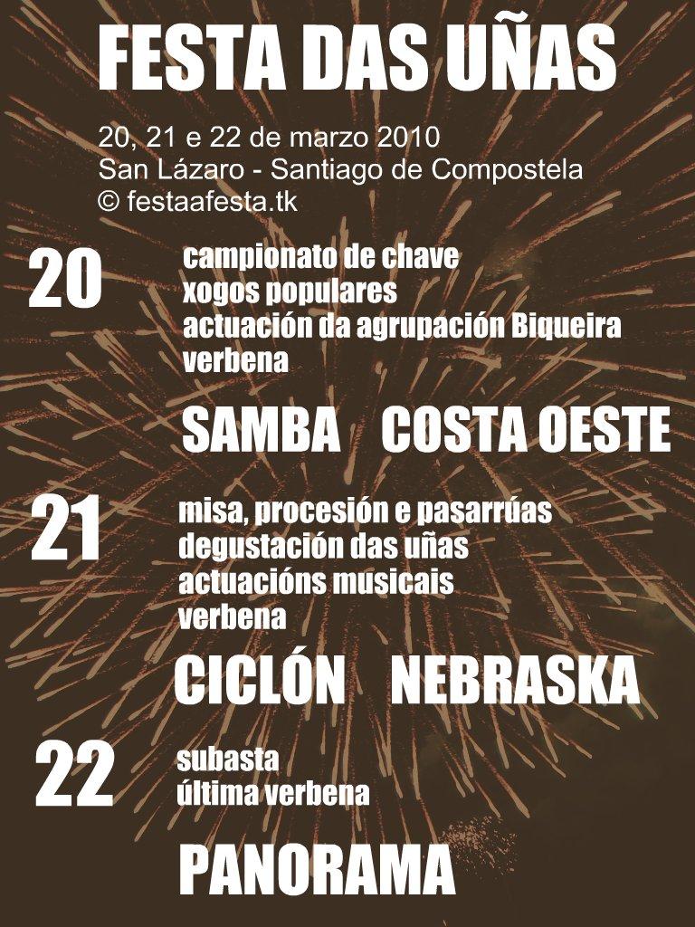Festa das Uñas, San Lázaro, Santiago de Compostela, cartel